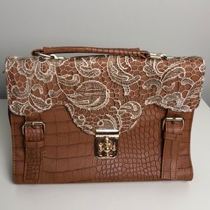 Brown satchel/briefcase purse with lace details